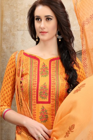 Immaculate Orange cotton Heavy Embroidery On Neck  with Lace Border  Dress Material
