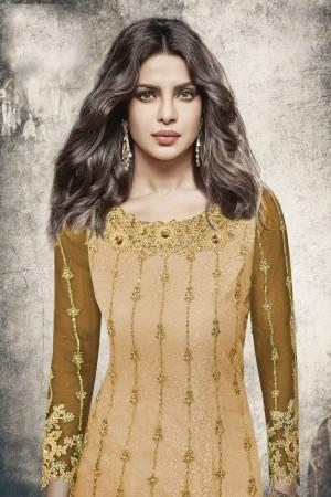 Priyanka Chopra Light Yellow Net Heavy Embroidery Top with Embroidery Bottom  Salwar Kameez