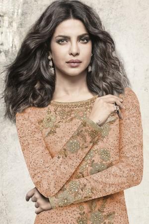 Priyanka Chopra Orange Brasso Heavy Embroidery Top with Embroidery Bottom  Salwar Kameez