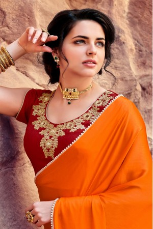 Classic Orange  Satin Silk Plain satin silk saree with emroidered Blouse Saree