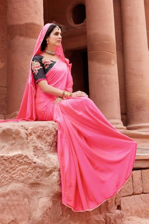Desirable Pink Satin Silk Plain satin silk saree with emroidered Blouse Saree