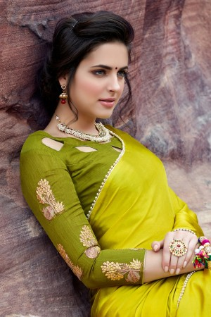 Designer Lemon Green Satin Silk Plain satin silk saree with emroidered Blouse Saree