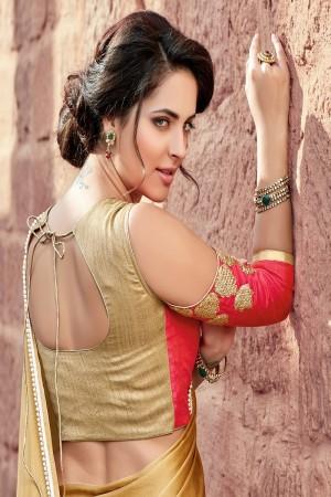 Alluring Beige  Satin Silk Plain satin silk saree with emroidered Blouse Saree