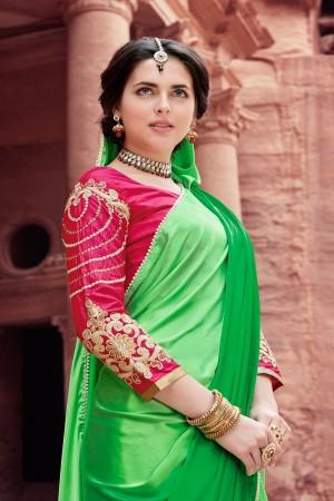 Fantastic Green Satin Silk Plain satin silk saree with emroidered Blouse Saree