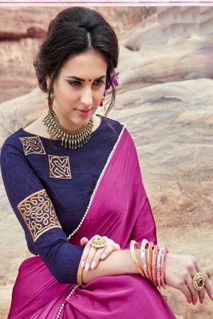 Fantastic Pink  Satin Silk Plain satin silk saree with emroidered Blouse Saree
