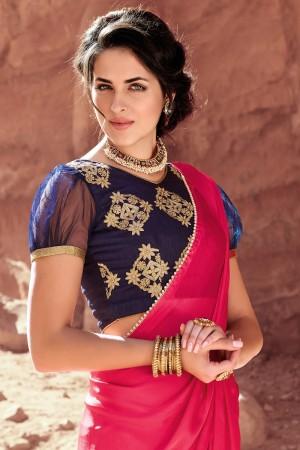 Glossy Drak Pink Satin Silk Plain satin silk saree with emroidered Blouse Saree