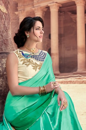 Sensuous Green  Satin Silk Plain satin silk saree with emroidered Blouse Saree