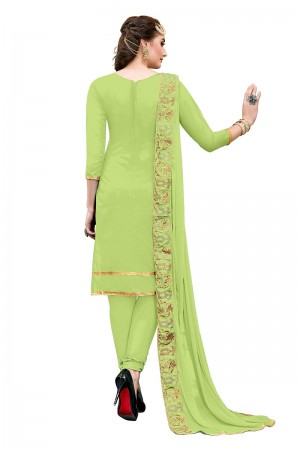 Appealing Pista Green Chanderi Cotton Heavy Embroidery On Neck and Sleeve with Lace Border  Dress Material