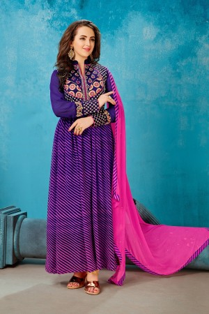 Graceful violate & Pink Georgette Printed Georgette Embroied with Stone work Gown