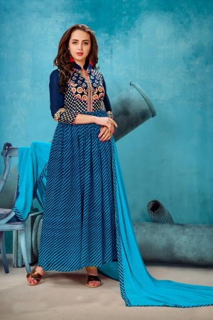 Bewitching Blue Georgette Printed Georgette Embroied with Stone work Gown