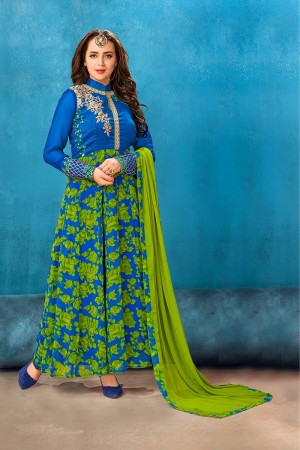 Modish  Blue & Green Georgette Printed Georgette Embroied with Stone work Gown
