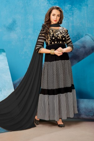 Royal Black Georgette Printed Georgette Embroied  with Stone work Gown