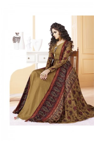 Luscious Tusser silk Mustard Digital Print Ready made gown