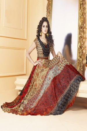 Astounding Tusser silk Crean & red Digital Print Ready made gown