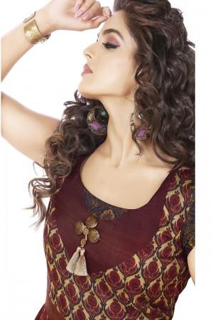 Ravishing Tusser silk wine & black Digital Print Ready made gown