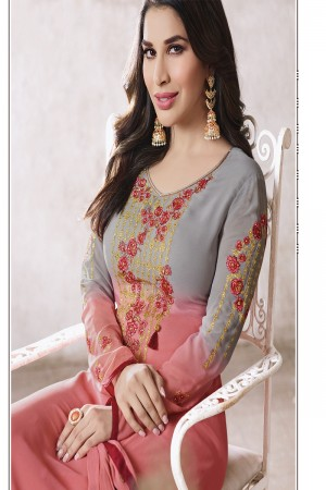 Sophie Chaudhary Peach Georgette Embroidery Work  in Neck And Sleeves with Stone work Salwar Kameez