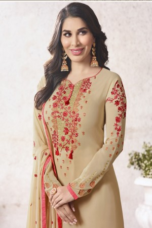 Sophie Chaudhary Beige Georgette Embroidery Work  in Neck And Sleeves with Stone work Salwar Kameez