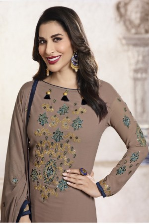 Sophie Chaudhary Brown Georgette Embroidery Work  in Neck And Sleeves with Stone work Salwar Kameez