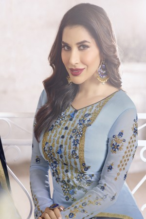 Sophie Chaudhary Blue Georgette Embroidery Work  in Neck And Sleeves with Stone work Salwar Kameez