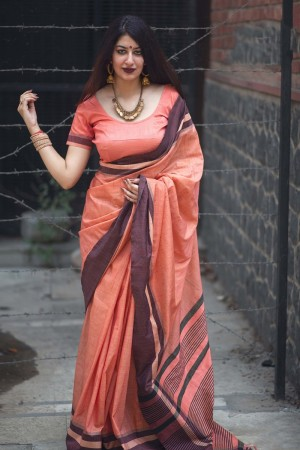 Bedazzling Salmon Slub Cotton  With Matching  Blouse  Saree