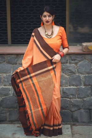 Gorgeous Orange Slub Cotton  With Matching  Blouse  Saree