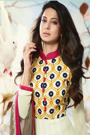 Jennifer Winget Off white Georgette Heavy Embroidery on Neck and Sleeve with Printed Dupatta Salwar Kameez