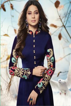 Jennifer Winget Dark Blue Georgette Heavy Embroidery on Neck and Sleeve with Printed Dupatta Salwar Kameez