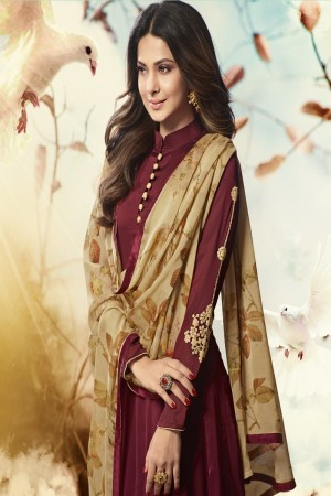 Jennifer Winget Wine Georgette Heavy Embroidery on Neck and Sleeve with Printed Dupatta Salwar Kameez