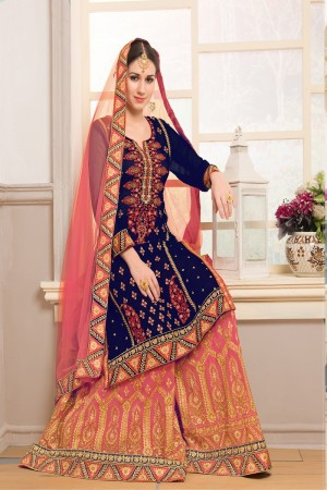 Enigmatic Blue  Georgette Heavy Embroidery on Top and Zari work on Sarara