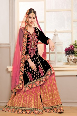 Decent Black Georgette Heavy Embroidery on Top and Zari work on Sarara