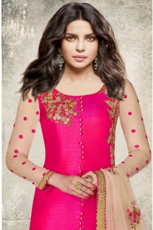 Priyanka Chopra Rani pink Dyed twill  Heavy Embroidery Top with Embroidery Bottom Salwar Kameez