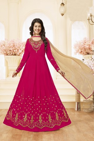 Ayesha Takia Rani pink Georgette Heavy Embroidery Thread and Zari Work on Neck and Sleeve with Embroidery Work Salwar Kameez