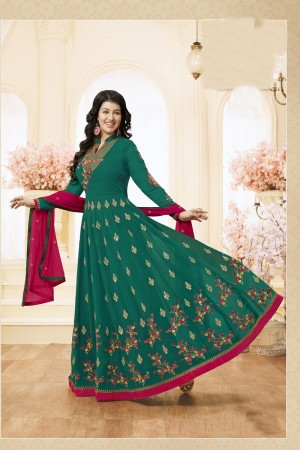 Ayesha Takia Green Georgette Heavy Embroidery Thread and Zari Work on Neck and Sleeve with Embroidery Work Salwar Kameez
