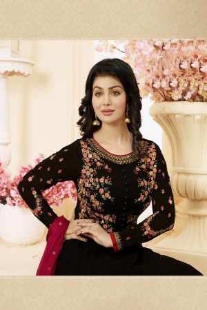 Ayesha Takia Black Georgette Heavy Embroidery Thread and Zari Work on Neck and Sleeve with Embroidery Work Salwar Kameez