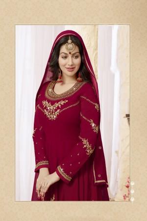 Ayesha Takia Maroon Georgette Heavy Embroidery Thread and Zari Work on Neck and Sleeve with Embroidery Work Salwar Kameez