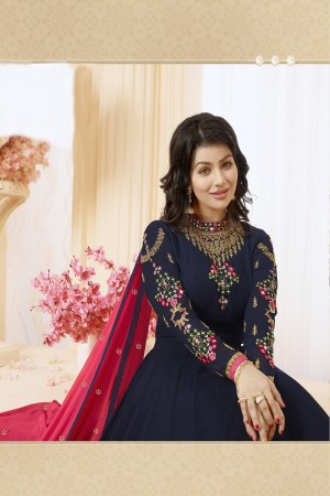 Ayesha Takia Nevy Blue Georgette Heavy Embroidery Thread and Zari Work on Neck and Sleeve with Embroidery Work Salwar Kameez
