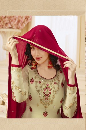 Ayesha Takia Cream Georgette Heavy Embroidery Thread and Zari Work on Neck and Sleeve with Embroidery Work Salwar Kameez