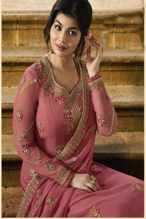 Ayesha Takia Peach Faux Georgette Heavy Embroidery on Neck and Sleeve with Embroidery Dupatta Salwar Kameez