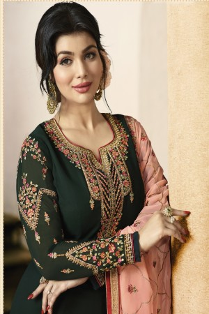 Ayesha Takia Dark Green Faux Georgette Heavy Embroidery on Neck and Sleeve with Embroidery Dupatta Salwar Kameez