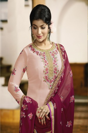 Ayesha Takia Light Pink Faux Georgette Heavy Embroidery on Neck and Sleeve with Embroidery Dupatta Salwar Kameez