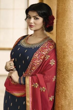 Ayesha Takia Navy Blue Faux Georgette Heavy Embroidery on Neck and Sleeve with Embroidery Dupatta Salwar Kameez