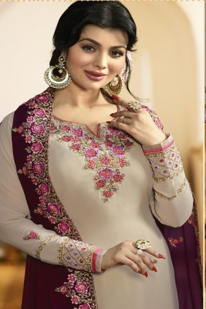 Ayesha Takia Cream Faux Georgette Heavy Embroidery on Neck and Sleeve with Embroidery Dupatta Salwar Kameez