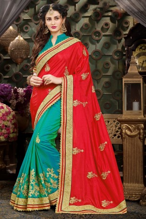 Divine Red & Green Art Silk Jari Embroidery  Work with Heavy  embroidered lace border Saree