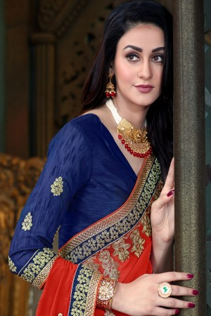 Voluptuous Red & Blue Georgette  Jari Embroidery  Work with Multi Embroidered lace border Saree