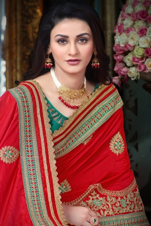 Pristine Red Art Silk Jari Embroidery  Work with Heavy  embroidered lace border Saree