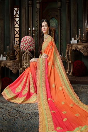 Wondrous Orange & Pink Chiffon Jari Embroidery  Work with Heavy  embroidered lace border Saree