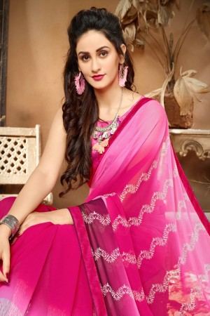 Sensational Pink Georgette Printed saree with Lace Border Saree