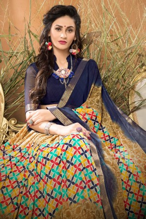 Sophisticated  Blue Georgette Printed saree with Lace Border Saree