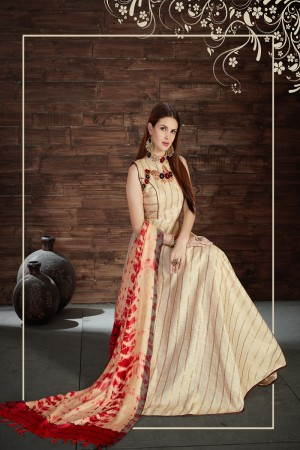 Stylish Beige Silk Heavy Zari, Sequance and Khatali work   stiched salwar suit