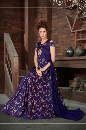 Graceful Navy Blue Silk Heavy Zari, Sequance and Khatali work   stiched salwar suit
